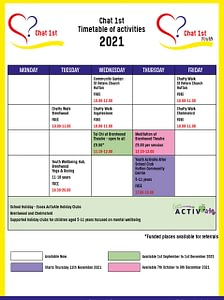 Chat 1st and Chat 1st Youth Timetable of Activities